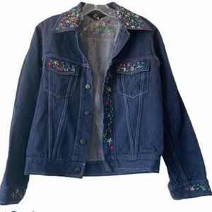 Vintage Phoenix Embroidered Denim Jacket Size S